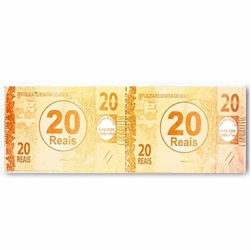 Ficha de Caixa Dinheiro 20,00 50X2 C/ 10 Blocos