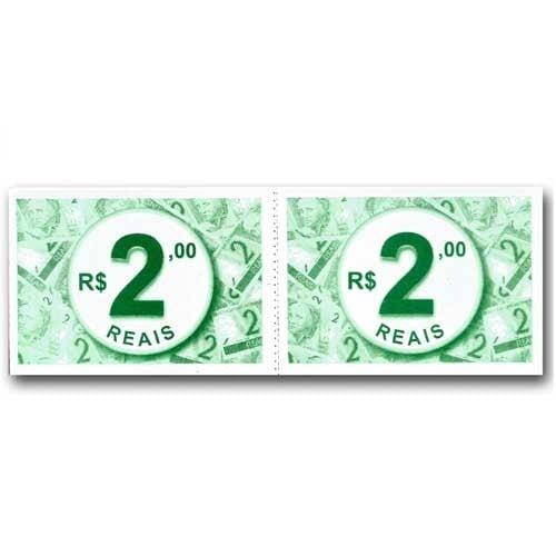 Ficha de Caixa Dinheiro 2,00 Tamoio Ref. 1079 - 50X2 C/ 10 Blocos