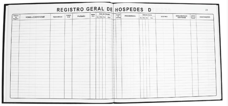 Livro de Registro Geral de Hóspedes Tamoio Ref. 2039 - 100 folhas c/ 2 unid