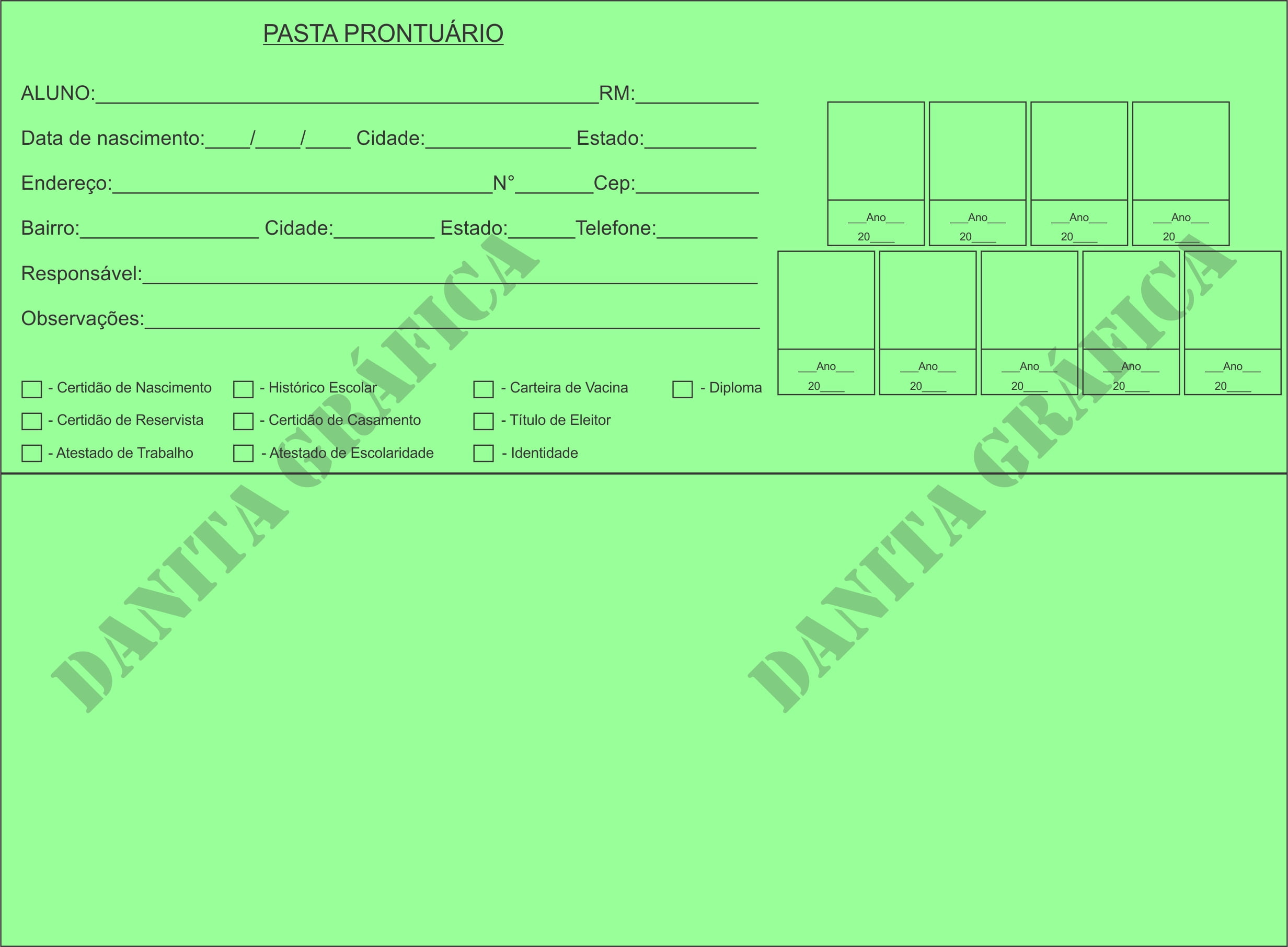 Pasta Prontuário Escolar do Aluno Padronizada 09 fotos Verde C/ 100 unid. (Encomenda)