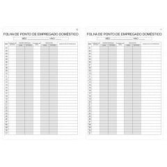 Caderno de Ponto Empregado Doméstico Ref. TR-06 12 folhas